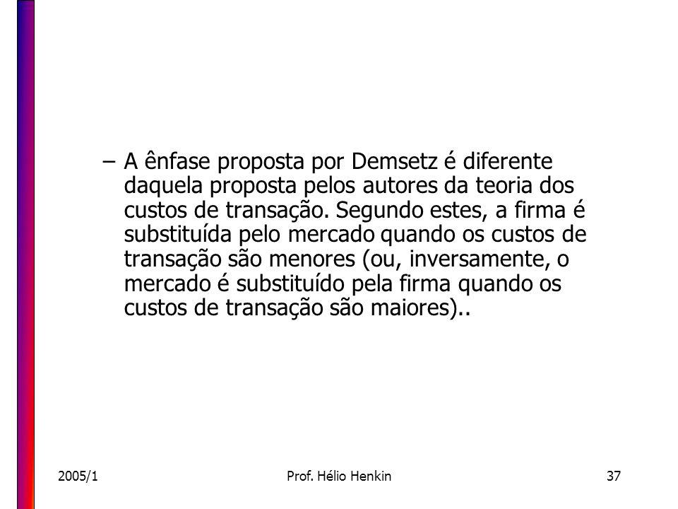 2005/1Prof. Hélio Henkin37 –A ênfase proposta por Demsetz é diferente daquela proposta pelos autores da teoria dos custos de transação. Segundo estes,