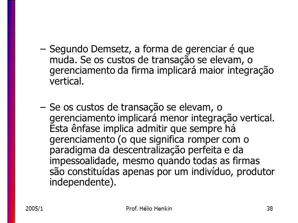 2005/1Prof. Hélio Henkin38 –Segundo Demsetz, a forma de gerenciar é que muda. Se os custos de transação se elevam, o gerenciamento da firma implicará