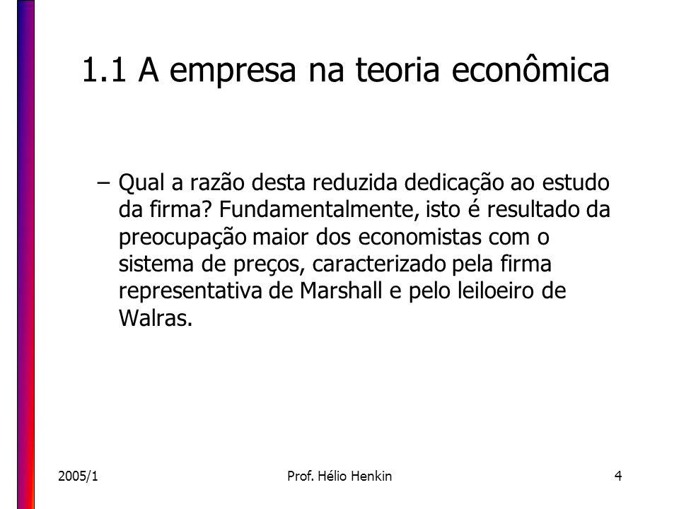 2005/1Prof. Hélio Henkin4 1.1 A empresa na teoria econômica –Qual a razão desta reduzida dedicação ao estudo da firma? Fundamentalmente, isto é result