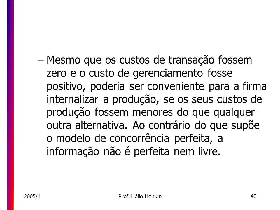 2005/1Prof. Hélio Henkin40 –Mesmo que os custos de transação fossem zero e o custo de gerenciamento fosse positivo, poderia ser conveniente para a fir