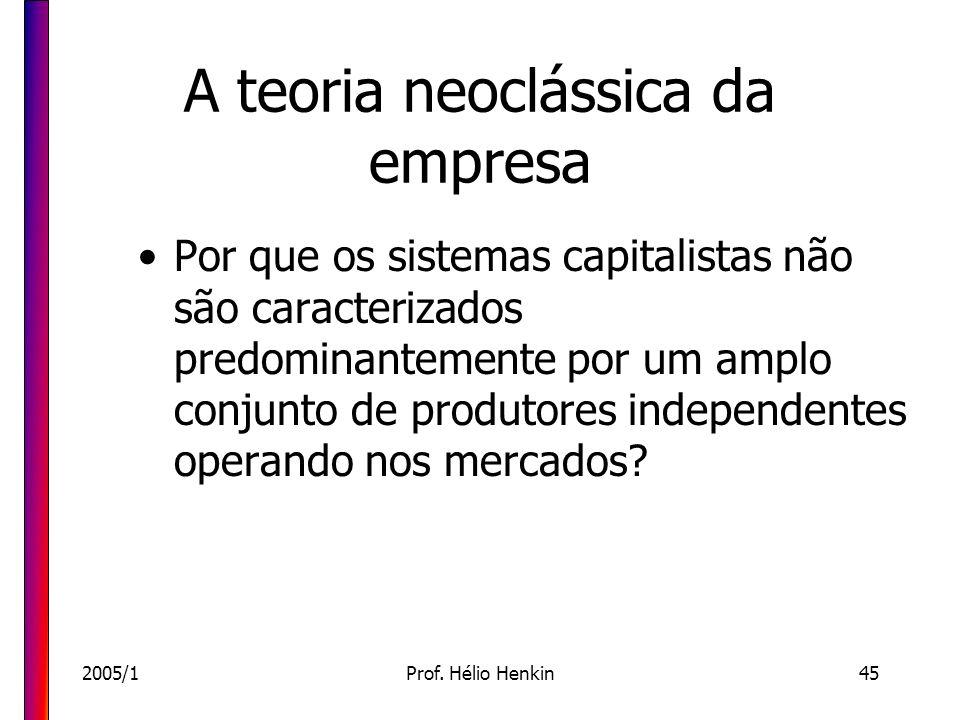 2005/1Prof. Hélio Henkin45 A teoria neoclássica da empresa Por que os sistemas capitalistas não são caracterizados predominantemente por um amplo conj