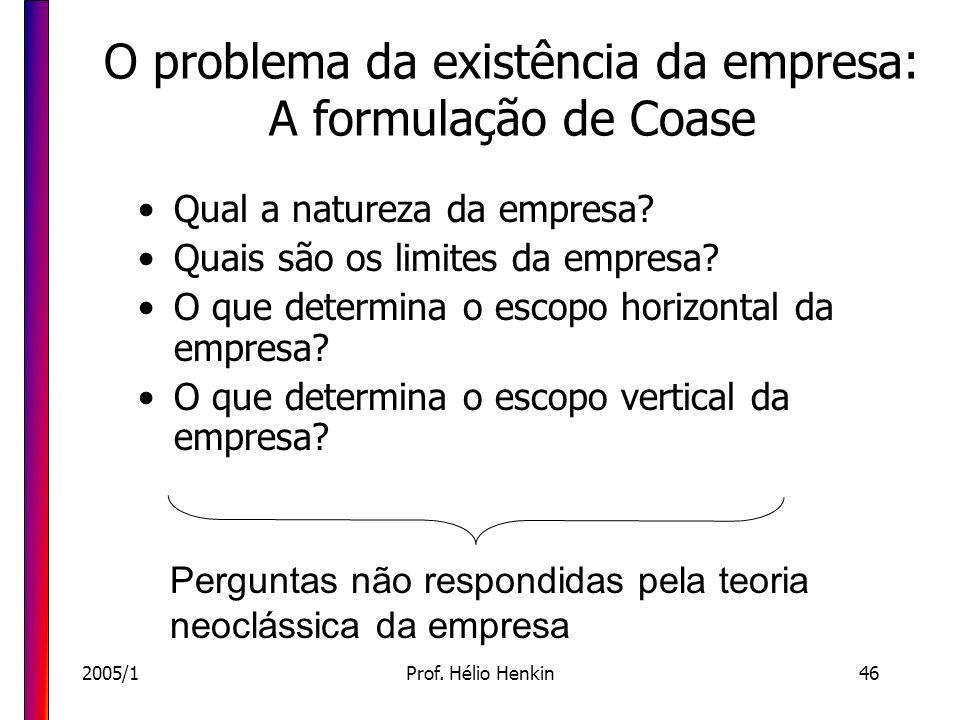2005/1Prof. Hélio Henkin46 O problema da existência da empresa: A formulação de Coase Qual a natureza da empresa? Quais são os limites da empresa? O q
