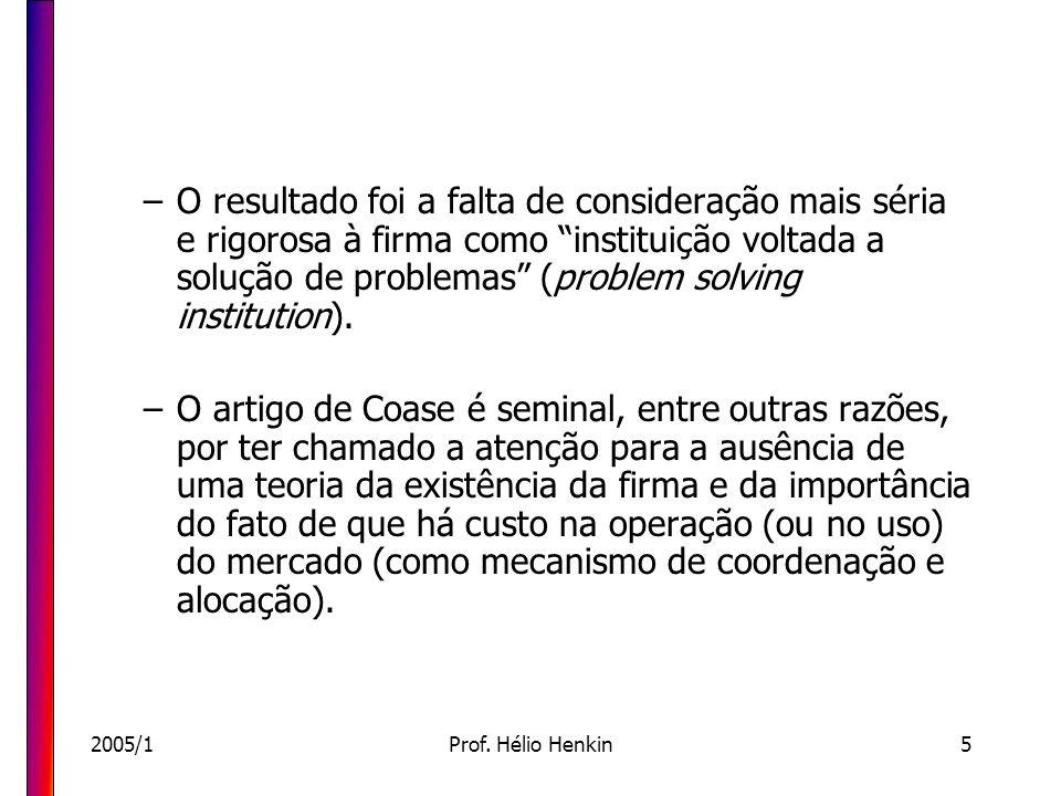 2005/1Prof. Hélio Henkin5 –O resultado foi a falta de consideração mais séria e rigorosa à firma como instituição voltada a solução de problemas (prob