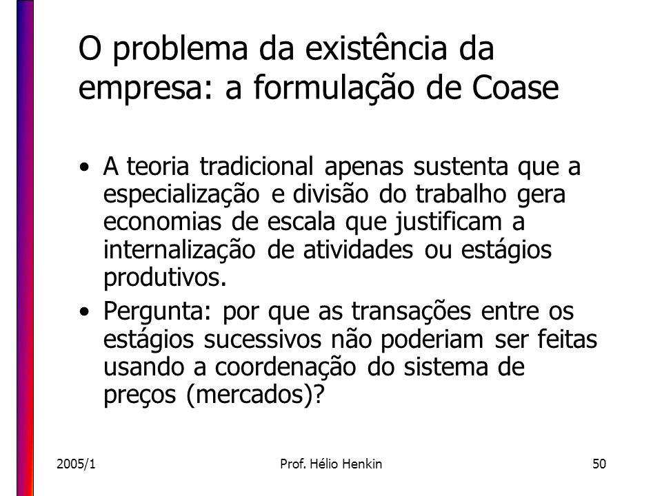 2005/1Prof. Hélio Henkin50 O problema da existência da empresa: a formulação de Coase A teoria tradicional apenas sustenta que a especialização e divi