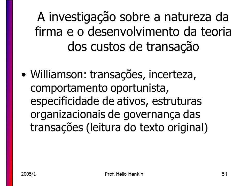 2005/1Prof. Hélio Henkin54 A investigação sobre a natureza da firma e o desenvolvimento da teoria dos custos de transação Williamson: transações, ince