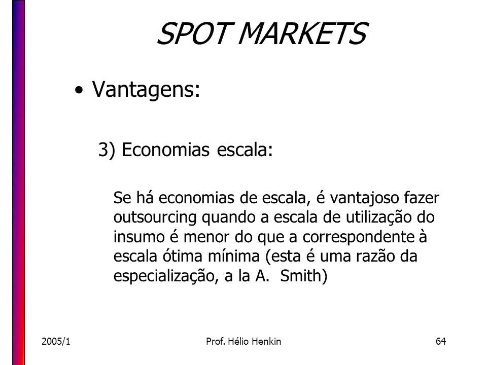 2005/1Prof. Hélio Henkin64 SPOT MARKETS Vantagens: 3) Economias escala: Se há economias de escala, é vantajoso fazer outsourcing quando a escala de ut