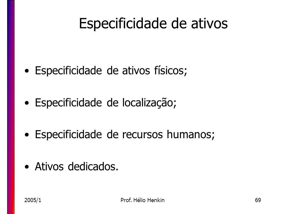 2005/1Prof. Hélio Henkin69 Especificidade de ativos Especificidade de ativos físicos; Especificidade de localização; Especificidade de recursos humano
