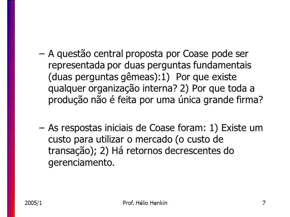 2005/1Prof. Hélio Henkin7 –A questão central proposta por Coase pode ser representada por duas perguntas fundamentais (duas perguntas gêmeas):1) Por q