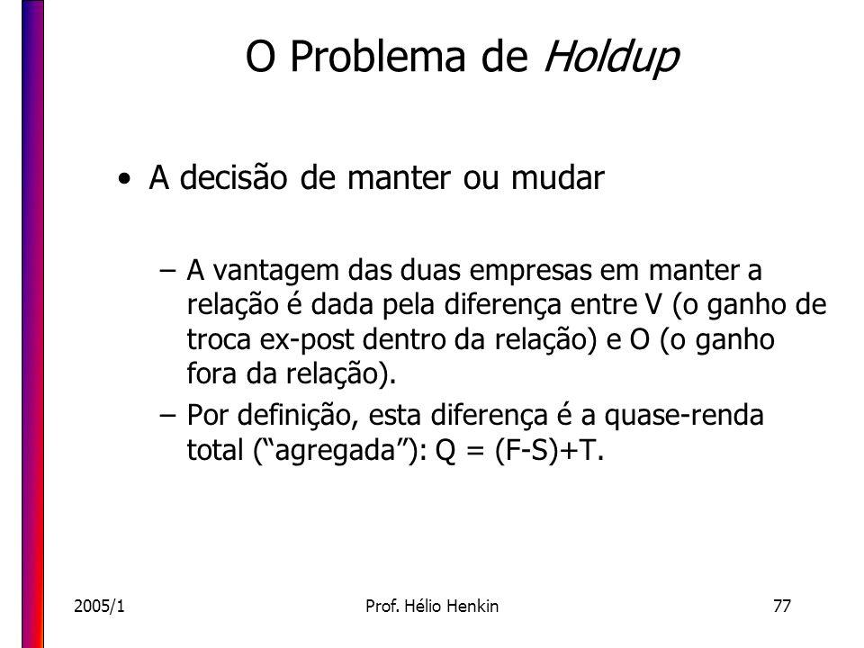 2005/1Prof. Hélio Henkin77 O Problema de Holdup A decisão de manter ou mudar –A vantagem das duas empresas em manter a relação é dada pela diferença e