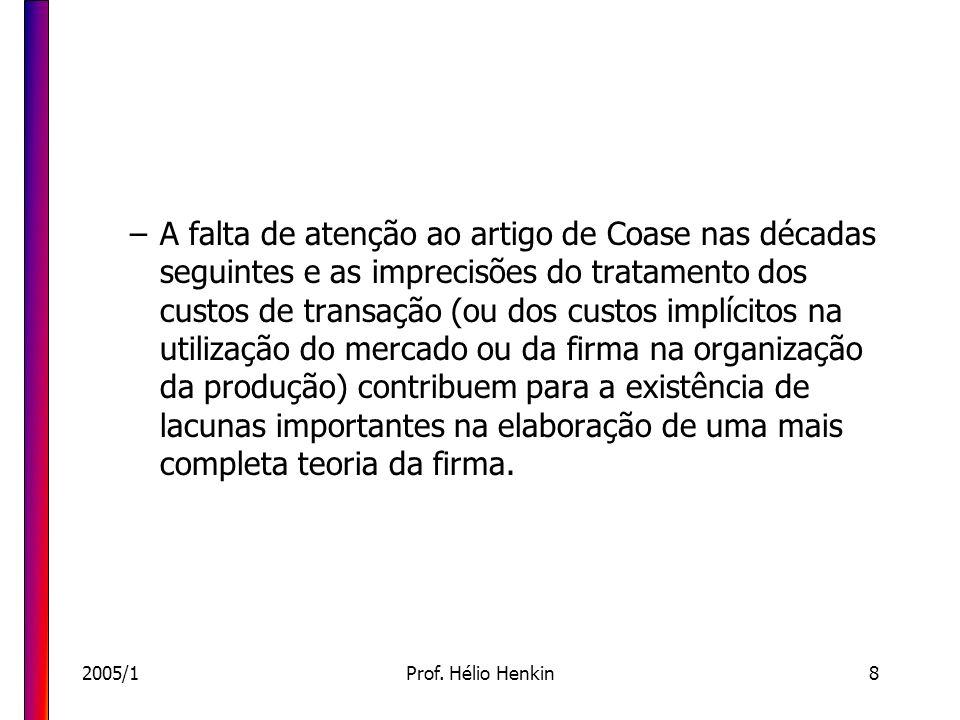 2005/1Prof. Hélio Henkin8 –A falta de atenção ao artigo de Coase nas décadas seguintes e as imprecisões do tratamento dos custos de transação (ou dos