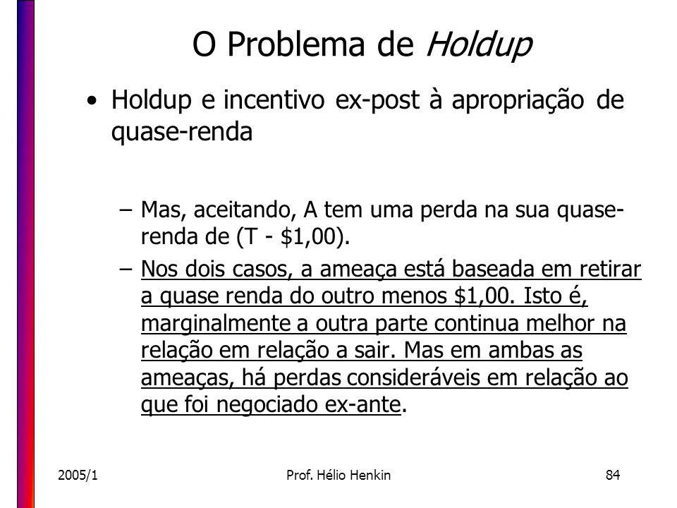 2005/1Prof. Hélio Henkin84 O Problema de Holdup Holdup e incentivo ex-post à apropriação de quase-renda –Mas, aceitando, A tem uma perda na sua quase-