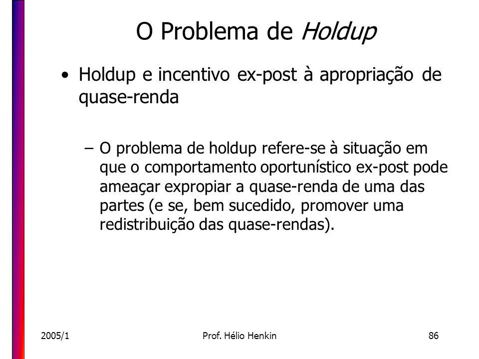 2005/1Prof. Hélio Henkin86 O Problema de Holdup Holdup e incentivo ex-post à apropriação de quase-renda –O problema de holdup refere-se à situação em