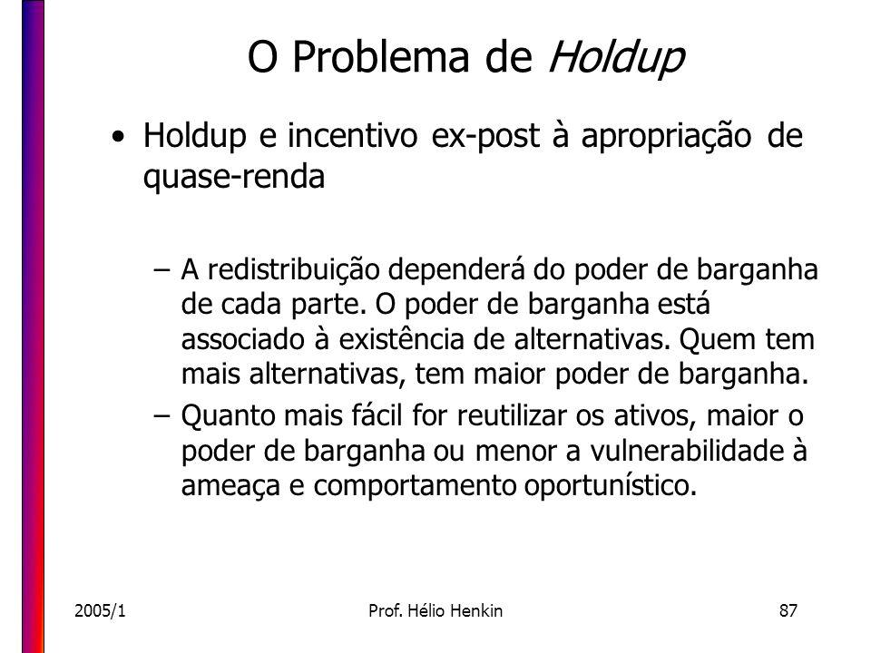 2005/1Prof. Hélio Henkin87 O Problema de Holdup Holdup e incentivo ex-post à apropriação de quase-renda –A redistribuição dependerá do poder de bargan