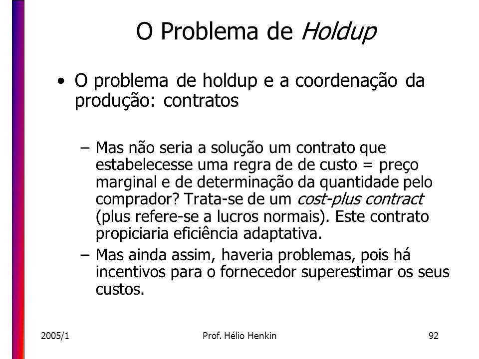2005/1Prof. Hélio Henkin92 O Problema de Holdup O problema de holdup e a coordenação da produção: contratos –Mas não seria a solução um contrato que e