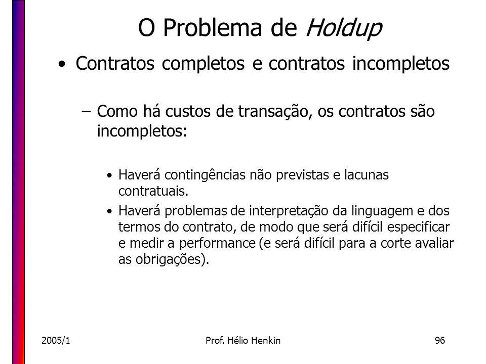 2005/1Prof. Hélio Henkin96 O Problema de Holdup Contratos completos e contratos incompletos –Como há custos de transação, os contratos são incompletos