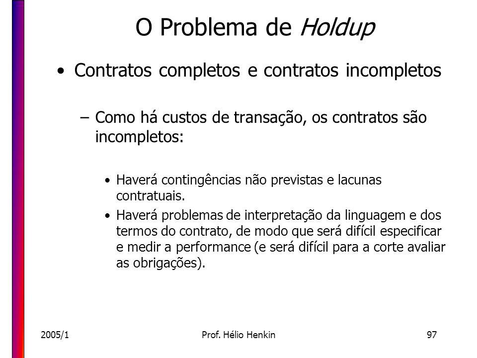 2005/1Prof. Hélio Henkin97 O Problema de Holdup Contratos completos e contratos incompletos –Como há custos de transação, os contratos são incompletos