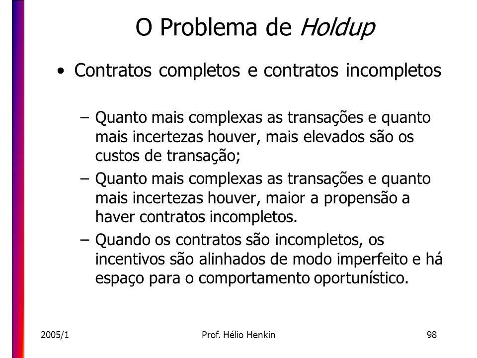 2005/1Prof. Hélio Henkin98 O Problema de Holdup Contratos completos e contratos incompletos –Quanto mais complexas as transações e quanto mais incerte