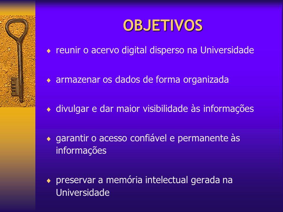 OBJETIVOS reunir o acervo digital disperso na Universidade armazenar os dados de forma organizada divulgar e dar maior visibilidade às informações gar