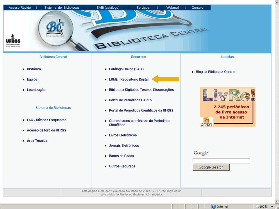 comunidade títuloautorpalavras- chaveano É possível realizar buscas selecionando a comunidade ou então percorrer os índices de título, autor, palavras- chave e ano.