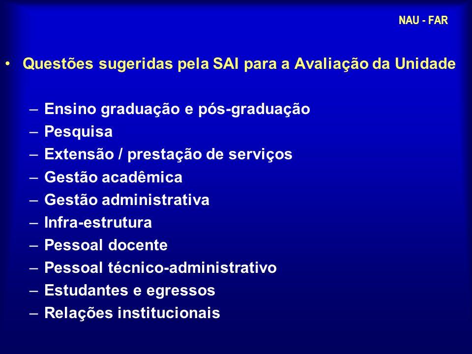 Questões sugeridas pela SAI para a Avaliação da Unidade –Ensino graduação e pós-graduação –Pesquisa –Extensão / prestação de serviços –Gestão acadêmic