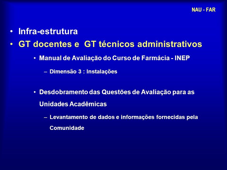 Infra-estrutura GT docentes e GT técnicos administrativos Manual de Avaliação do Curso de Farmácia - INEP –Dimensão 3 : Instalações Desdobramento das