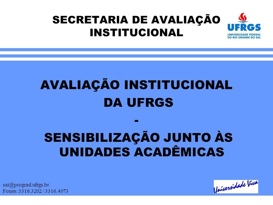 SECRETARIA DE AVALIAÇÃO INSTITUCIONAL AVALIAÇÃO INSTITUCIONAL DA UFRGS - SENSIBILIZAÇÃO JUNTO ÀS UNIDADES ACADÊMICAS sai@prograd.ufrgs.br Fones: 3316.