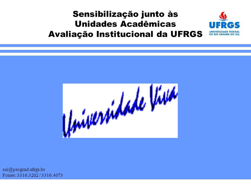 Sensibilização junto às Unidades Acadêmicas Avaliação Institucional da UFRGS sai@prograd.ufrgs.br Fones: 3316.3202 / 3316.4073