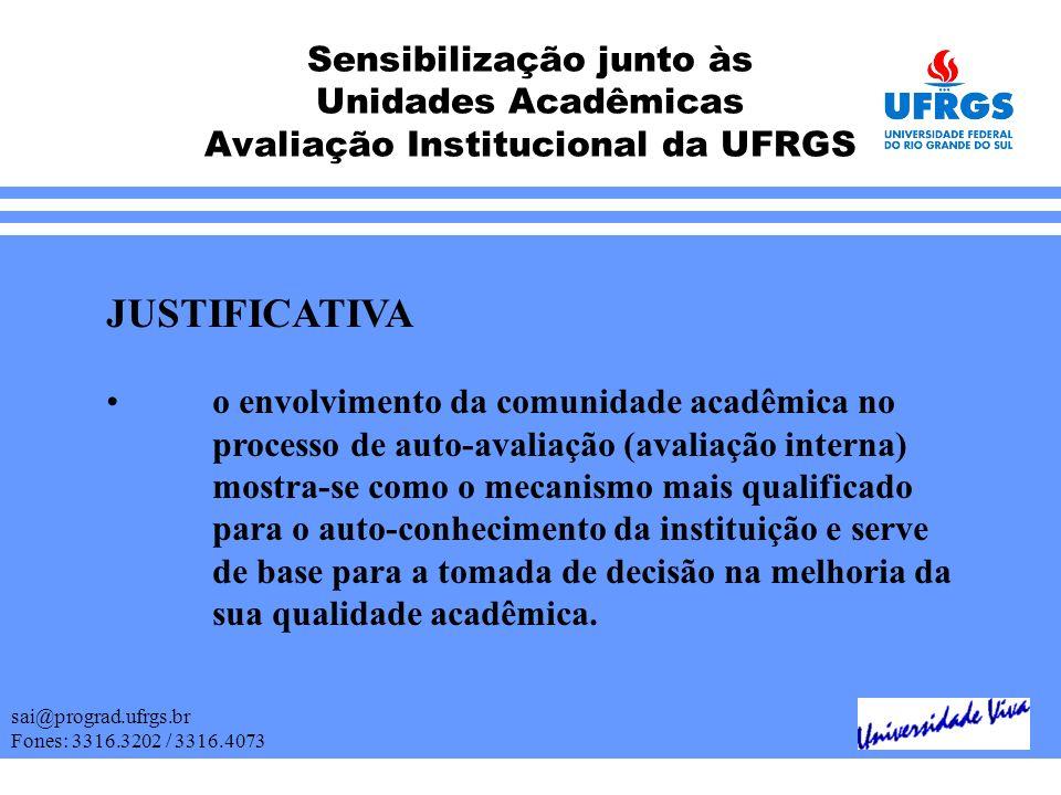 Sensibilização junto às Unidades Acadêmicas Avaliação Institucional da UFRGS sai@prograd.ufrgs.br Fones: 3316.3202 / 3316.4073 JUSTIFICATIVA o envolvi