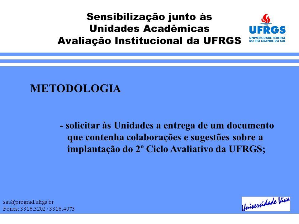 Sensibilização junto às Unidades Acadêmicas Avaliação Institucional da UFRGS sai@prograd.ufrgs.br Fones: 3316.3202 / 3316.4073 METODOLOGIA - solicitar