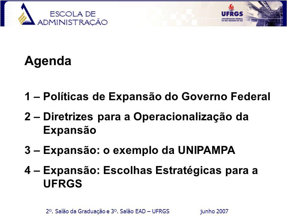 2º. Salão da Graduação e 3º. Salão EAD – UFRGS junho 2007 Agenda 1 – Políticas de Expansão do Governo Federal 2 – Diretrizes para a Operacionalização