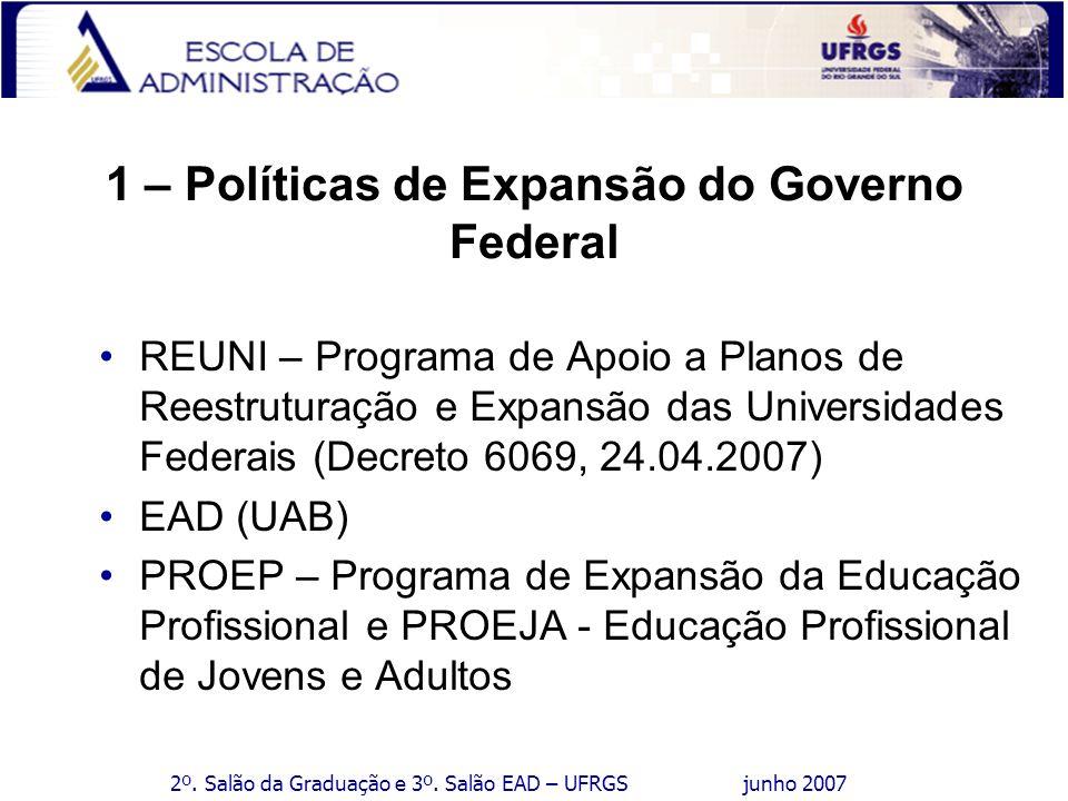 2º. Salão da Graduação e 3º. Salão EAD – UFRGS junho 2007 1 – Políticas de Expansão do Governo Federal REUNI – Programa de Apoio a Planos de Reestrutu