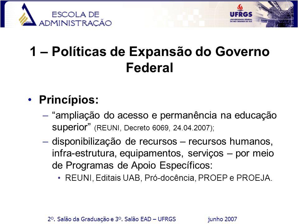2º. Salão da Graduação e 3º. Salão EAD – UFRGS junho 2007 1 – Políticas de Expansão do Governo Federal Princípios: –ampliação do acesso e permanência