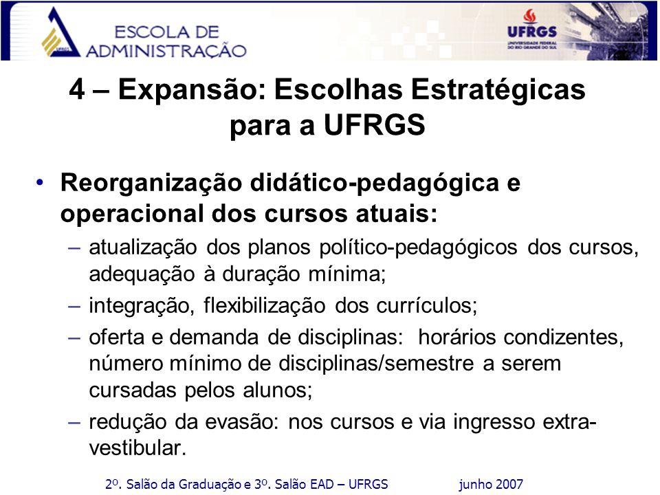 2º. Salão da Graduação e 3º. Salão EAD – UFRGS junho 2007 4 – Expansão: Escolhas Estratégicas para a UFRGS Reorganização didático-pedagógica e operaci