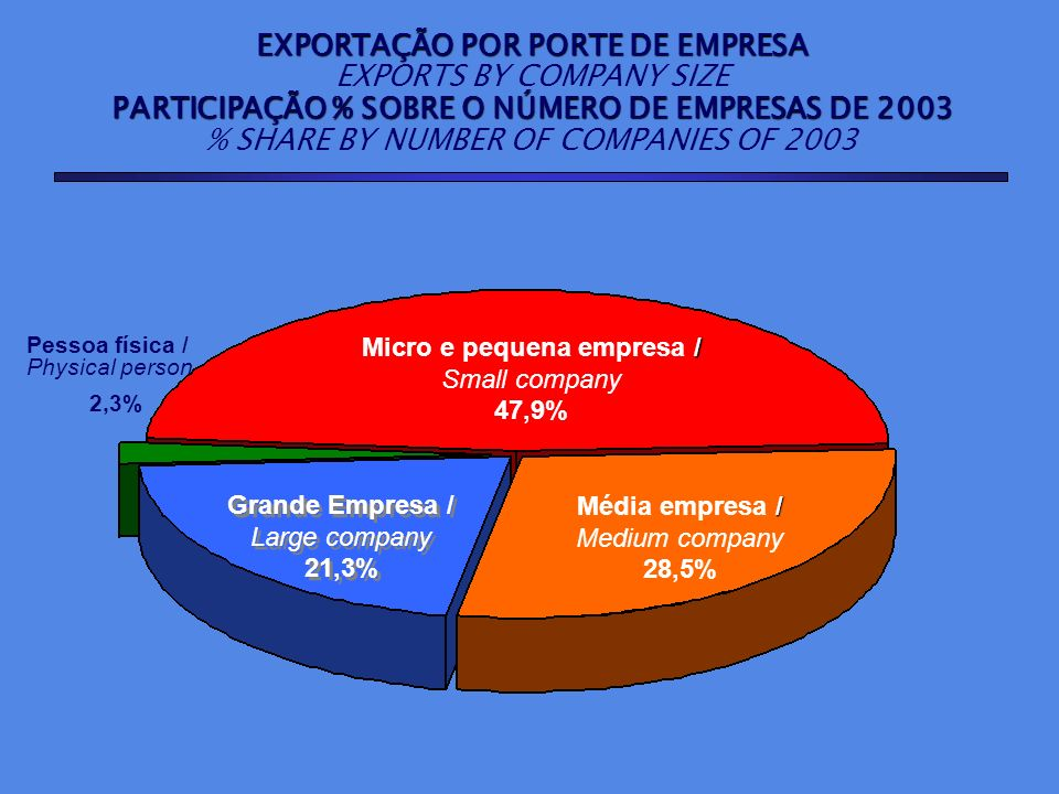 Pessoa física / Physical person 2,3% / Micro e pequena empresa / Small company 47,9% / Média empresa / Medium company 28,5% Grande Empresa / Large com