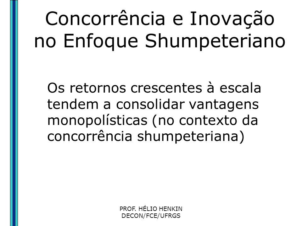 PROF. HÉLIO HENKIN DECON/FCE/UFRGS Concorrência e Inovação no Enfoque Shumpeteriano No enfoque shumpeteriano, a concorrência não é o oposto de monopól