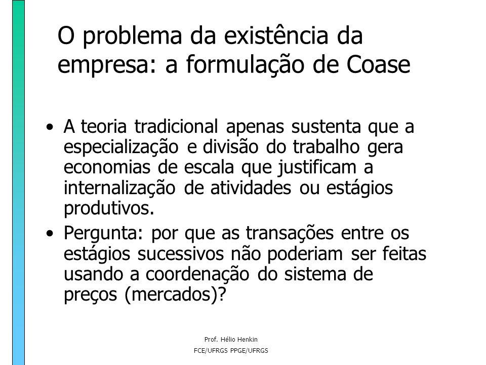 Prof. Hélio Henkin FCE/UFRGS PPGE/UFRGS O problema da existência da empresa: a formulação de Coase O escopo vertical: o que determina o número de está