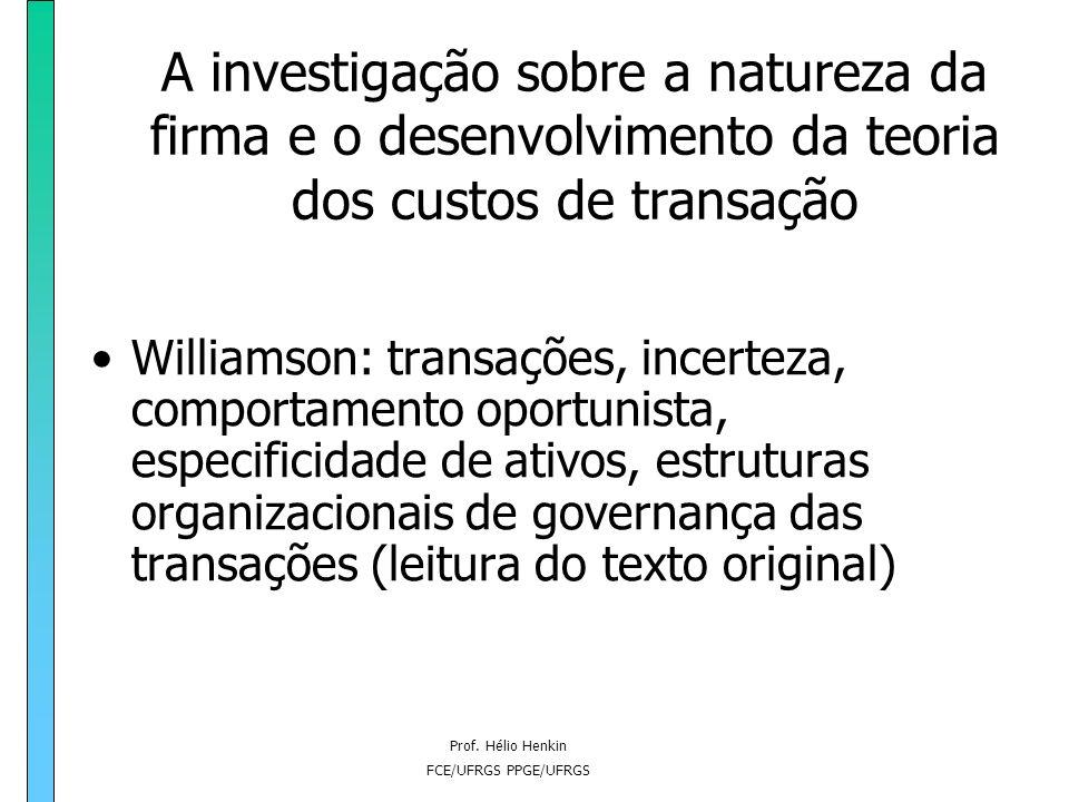 Prof. Hélio Henkin FCE/UFRGS PPGE/UFRGS O problema da existência da empresa: a formulação de Coase Proposição 2: há custos de utilizar o mecanismo de