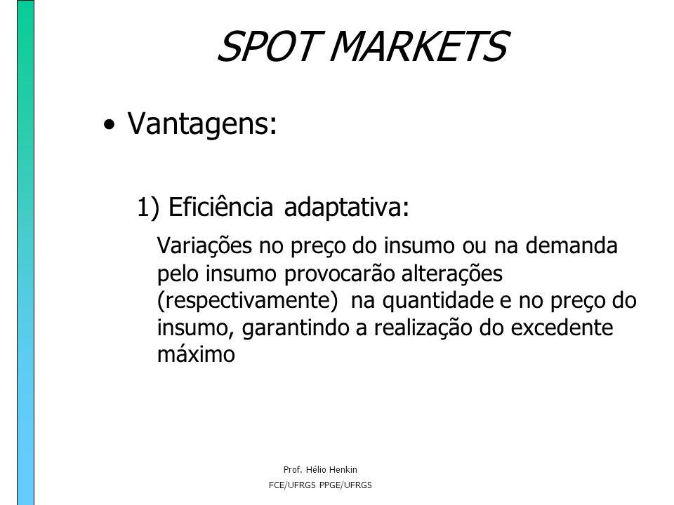 Prof. Hélio Henkin FCE/UFRGS PPGE/UFRGS SPOT MARKETS Vantagens: 1) Eficiência adaptativa; 2) Minimização de custo; 3) Realização de economias de escal