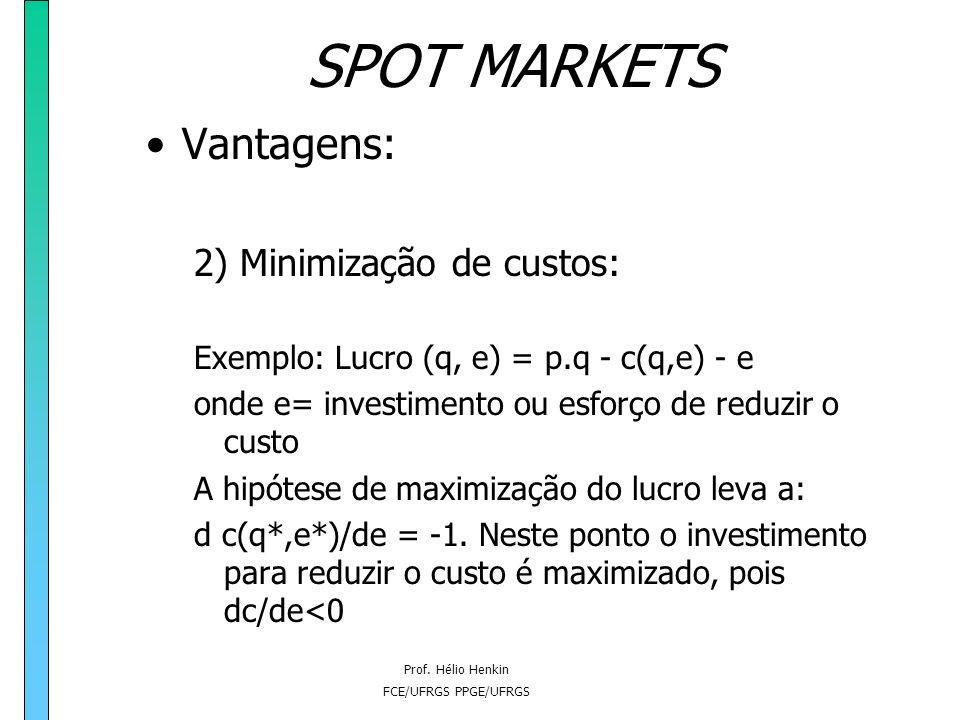 Prof. Hélio Henkin FCE/UFRGS PPGE/UFRGS SPOT MARKETS Vantagens: 2) Minimização de custos: - dado que a firma é o residual claimant (absorve a renda lí
