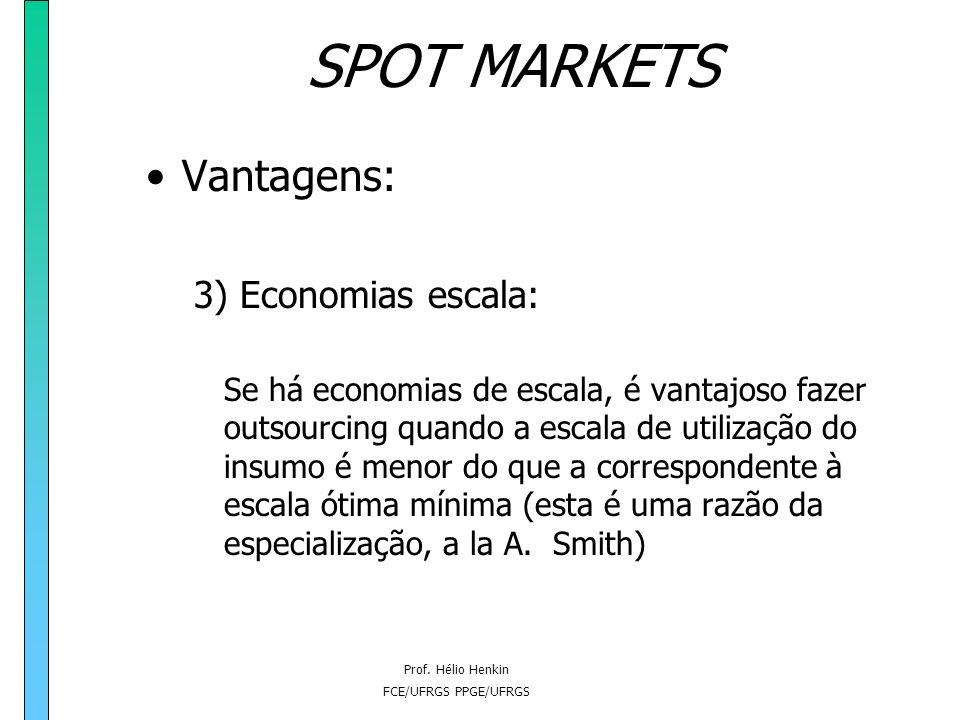 Prof. Hélio Henkin FCE/UFRGS PPGE/UFRGS SPOT MARKETS Vantagens: 2) Minimização de custos: Exemplo: Lucro (q, e) = p.q - c(q,e) - e onde e= investiment