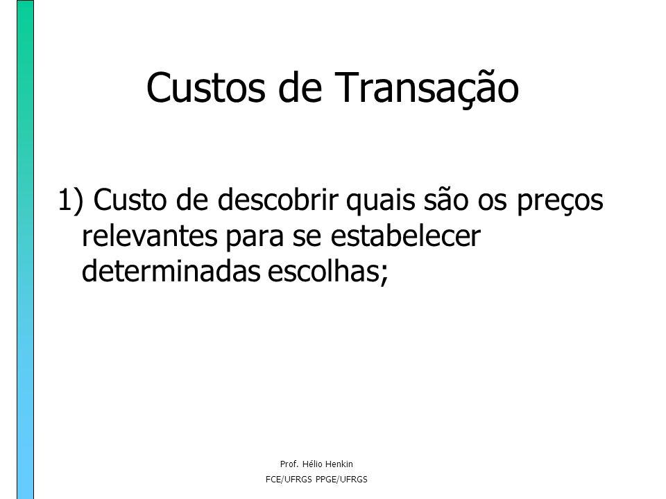 Prof. Hélio Henkin FCE/UFRGS PPGE/UFRGS A integração vertical sob o enfoque dos custos de transação e custos de organização