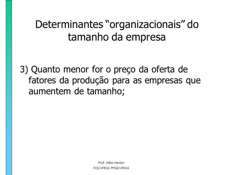 Prof. Hélio Henkin FCE/UFRGS PPGE/UFRGS Determinantes organizacionais do tamanho da empresa 2) Quanto menor for a ocorrência de erros no processo de c