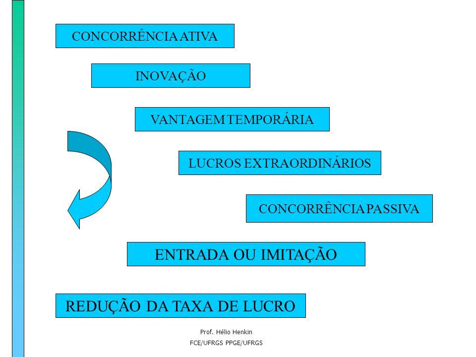 Prof. Hélio Henkin FCE/UFRGS PPGE/UFRGS Dupla dimensão da concorrência –Concorrência ativa: produz assimetria através da inovação –Concorrência passiv