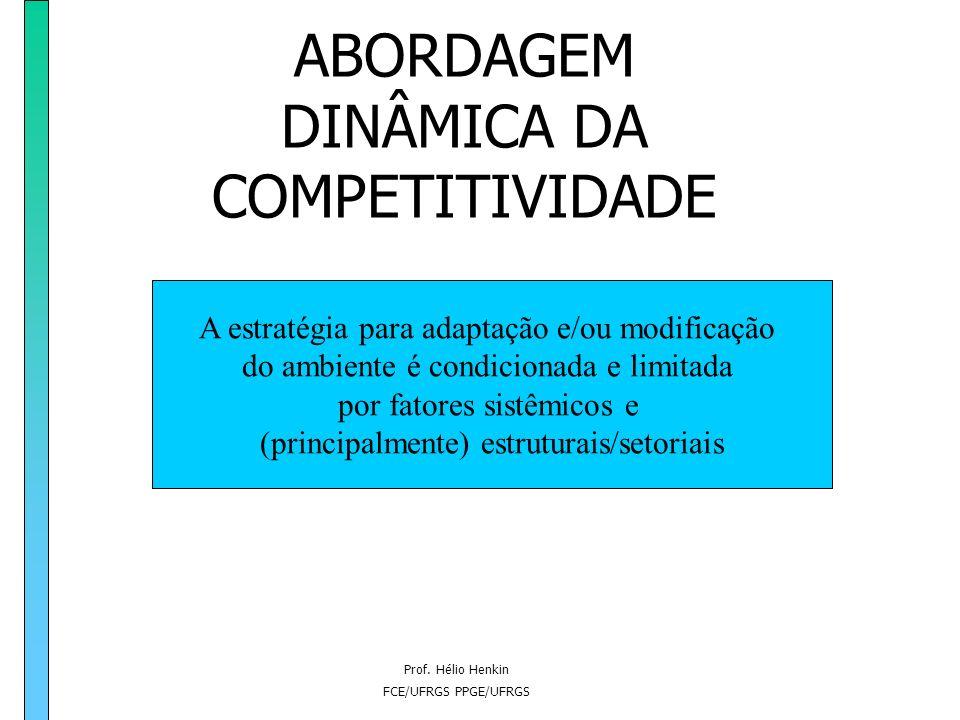 Prof. Hélio Henkin FCE/UFRGS PPGE/UFRGS ABORDAGEM DINÂMICA DA COMPETITIVIDADE Estratégia = interação com o ambiente competitivo Teoria Evolucionária =