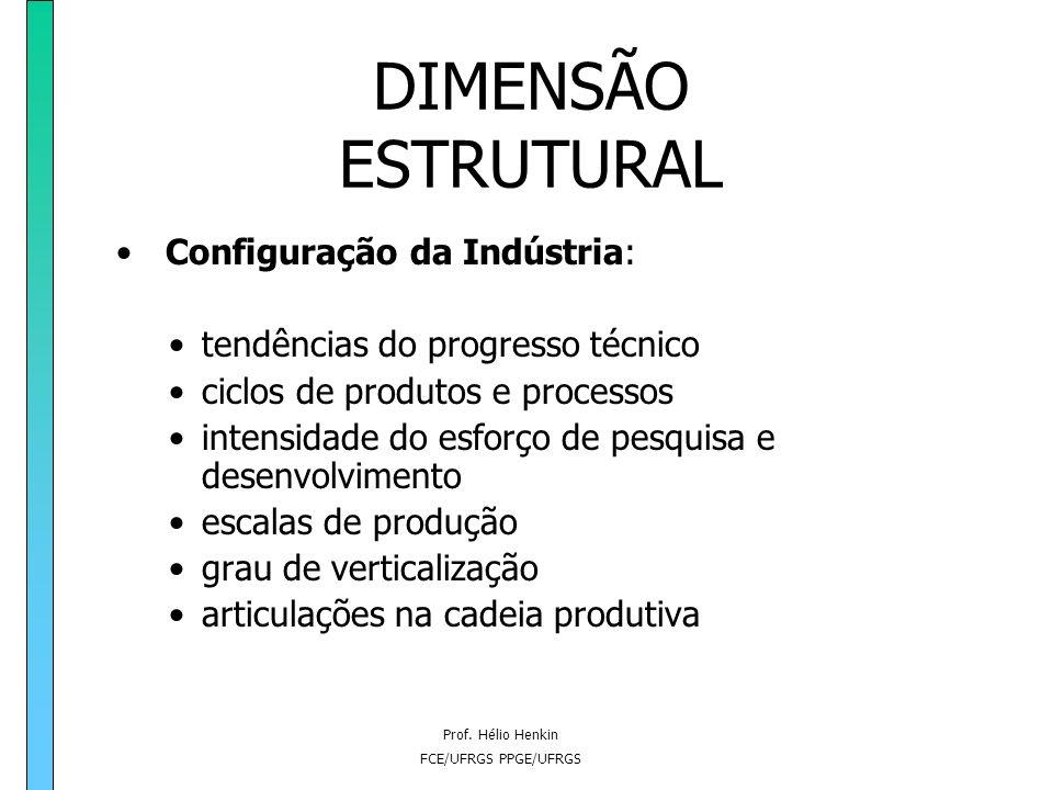 Prof. Hélio Henkin FCE/UFRGS PPGE/UFRGS DIMENSÃO ESTRUTURAL aspectos sobre os quais a capacidade de intervenção da empresa é limitada; são relativos a