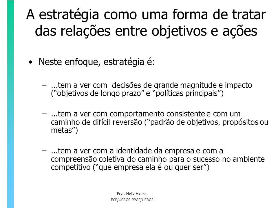 Prof. Hélio Henkin FCE/UFRGS PPGE/UFRGS A estratégia como uma forma de tratar das relações entre objetivos e ações Neste enfoque, estratégia é: –...Es