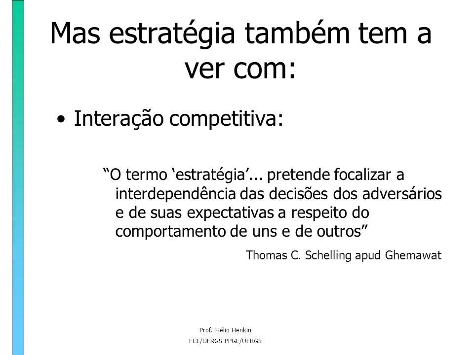 Prof. Hélio Henkin FCE/UFRGS PPGE/UFRGS Mas estratégia também tem a ver com: Fator estratégico: Se quisermos elevar o rendimento de cereais em determi