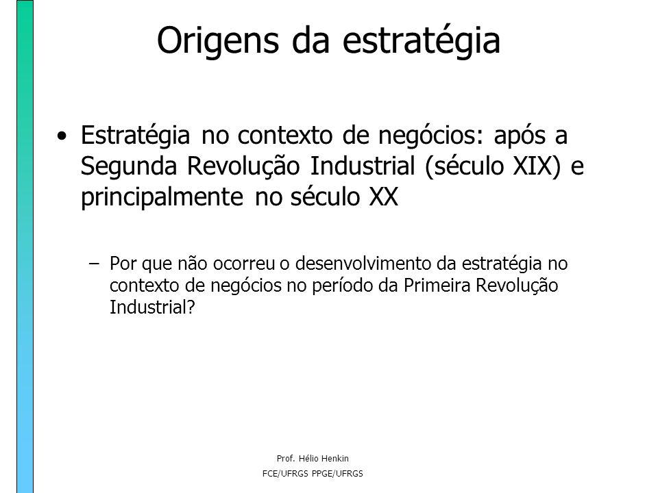 Prof. Hélio Henkin FCE/UFRGS PPGE/UFRGS Origens da estratégia O enfoque militar (origem grega da palavra estratégia) Táticas envolvem o uso de forças