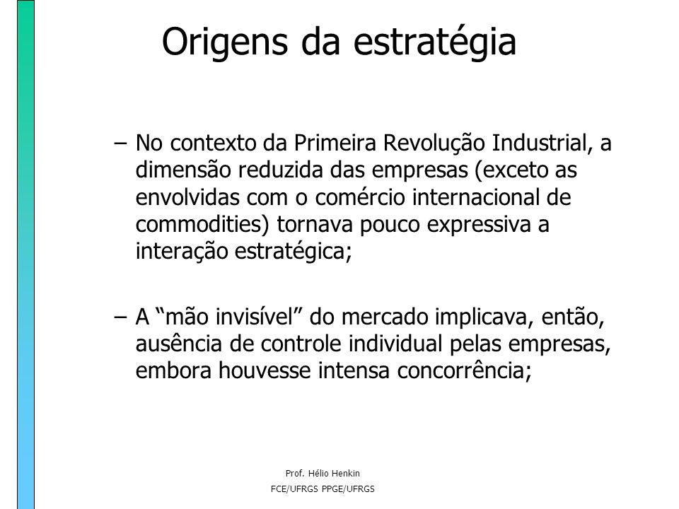 Prof. Hélio Henkin FCE/UFRGS PPGE/UFRGS Origens da estratégia Estratégia no contexto de negócios: após a Segunda Revolução Industrial (século XIX) e p