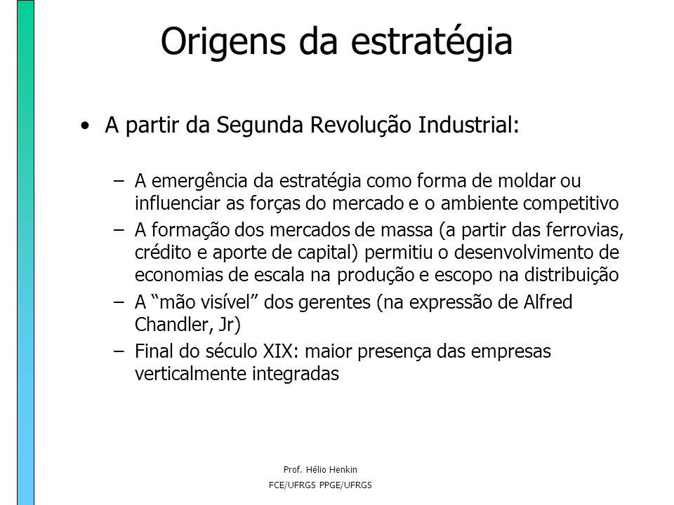 Prof. Hélio Henkin FCE/UFRGS PPGE/UFRGS Origens da estratégia –No contexto da Primeira Revolução Industrial, a dimensão reduzida das empresas (exceto